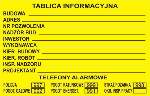 Żółta tablica informacyjna budowlana wzór